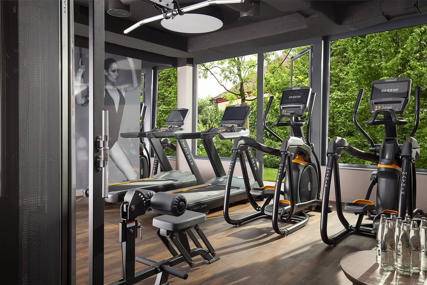 Gym in ACASA Suites Zurich with cardio and circuit equipment