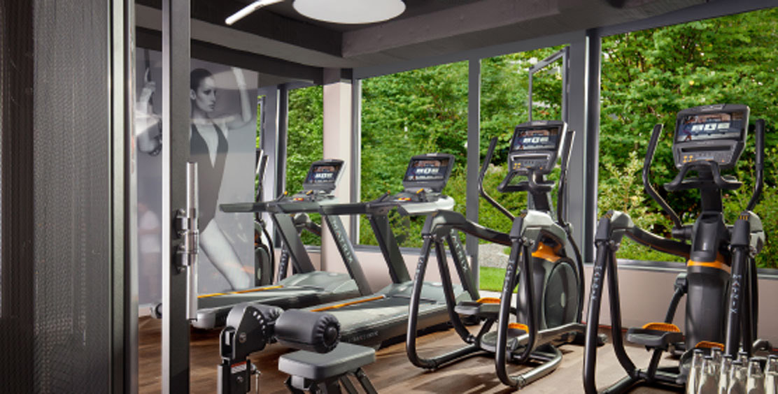 Gym at hotel ACASA Suites Zurich with cardio and circuit equipment