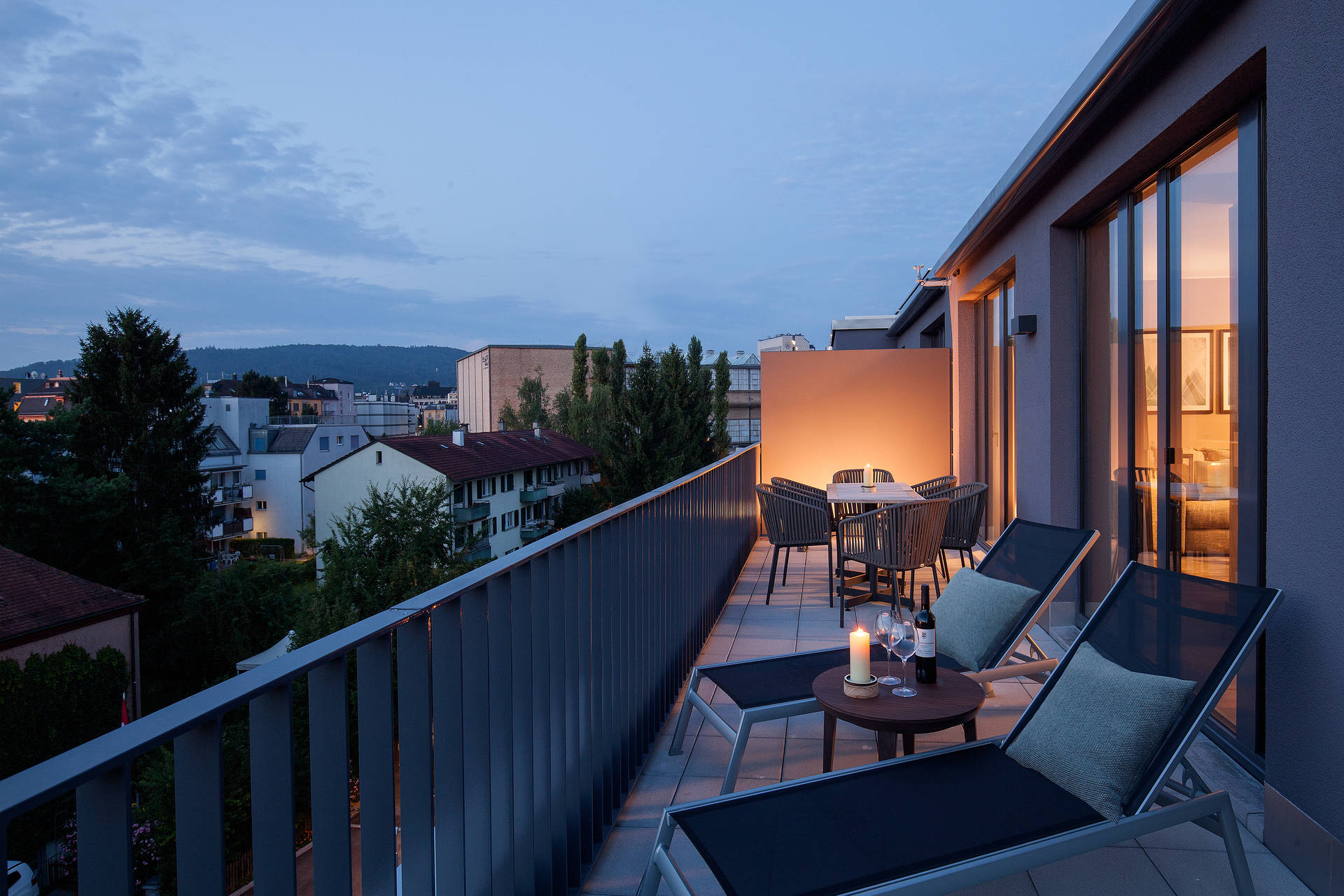 Rooftop Suite terrace in ACASA Suites Zurich with a breathtaking view