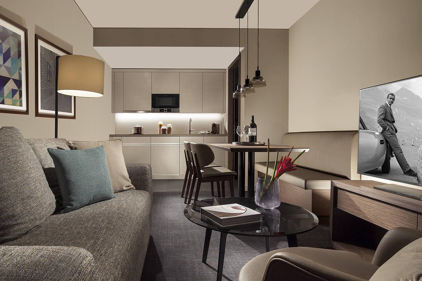 ACASA Suite with integrated kitchenette in ACASA Suites Zurich.